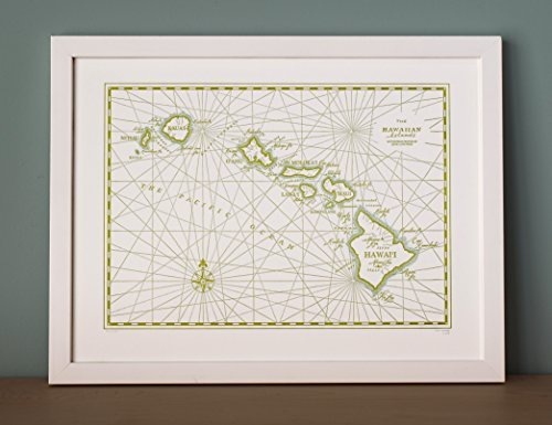 Quail Lane Press-Hawaii, Letterpress Map Print