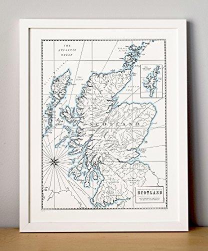 Quail Lane Press-Scotland, Letterpress Map Print