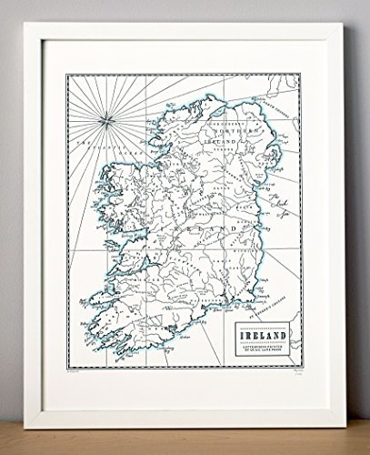 Quail Lane Press-Ireland, Letterpress Map Print
