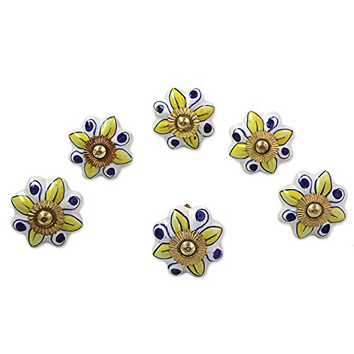 NOVICA-Set of 6 Floral Ceramic Nickel Plated Brass Cabinet Knobs - Yellow and White Bright Sunshine