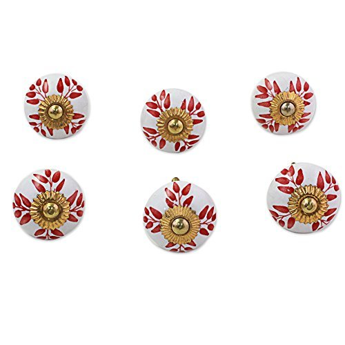 NOVICA-Set of 6 Floral Ceramic Nickel Plated Brass Cabinet Knobs - White Leafy Red