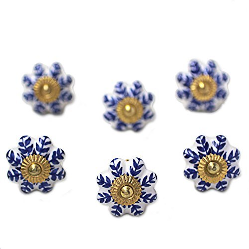 NOVICA-Set of 6 NOVICA Floral Ceramic Nickel Plated Brass Cabinet Knobs - Blue Sunshine