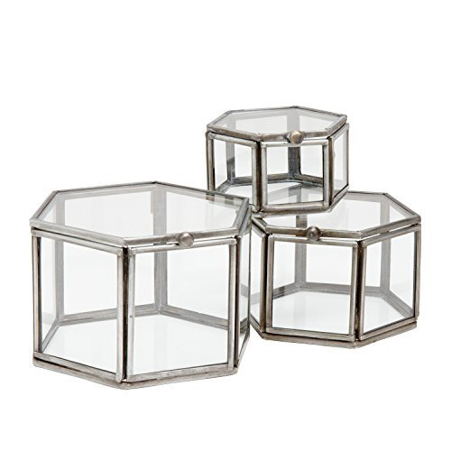 Ten Thousand Villages-Antiqued Silver Hexagon Glass And Metal Boxes