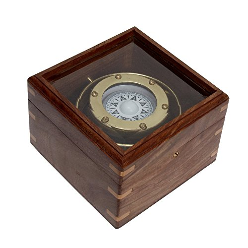 Misc Items-Compass In Keepsake Wood And Metal Box