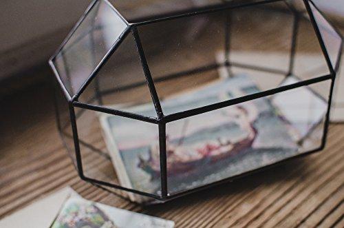 Leosklo-Medium Wedding Card Holder Glass Box Terrarium for Cards Geometric Mailbox
