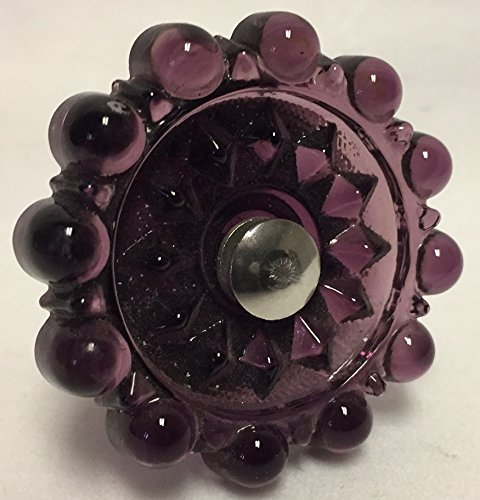 Rosso Glass-Glass Knob Drawer Pull Handle - Amethyst