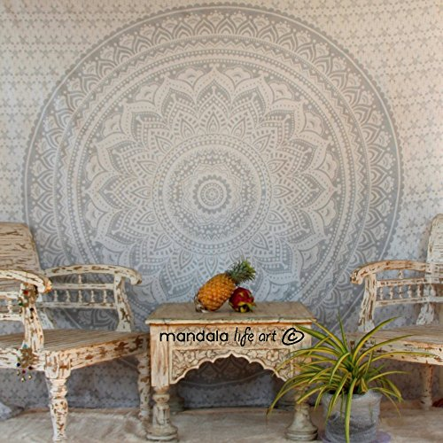 "Mandala Life ART-Bohemian Decor Throw Decorative Pillow Cover -20x26"" - Boho Mandala Pillowcase 100% Hand Printed Organic Cotton by Mandala Life ART( Orange Peacock)"