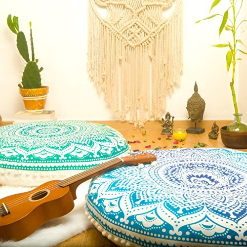 Mandala Life ART-Bohemian Ombre Indian Mandala Pouf Floor Cushion Cover