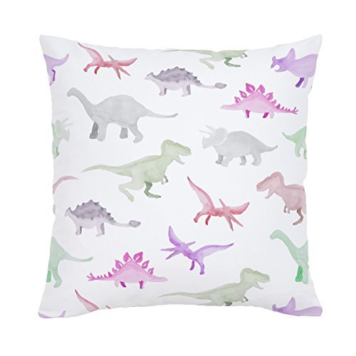 Carousel Designs-Pink Watercolor Dinosaurs Throw Pillow