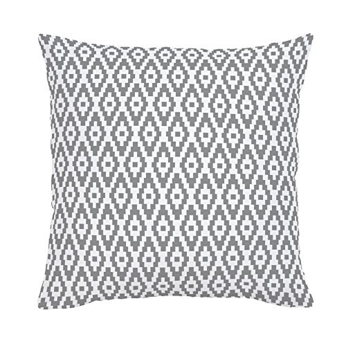 Carousel Designs-Cloud Gray Aztec Diamonds Throw Pillow 18-Inch Square