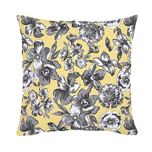 Carousel Designs-Banana Yellow and Gray Floral Throw Pillow 18-Inch Square