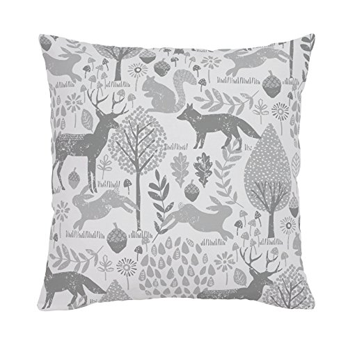 Carousel Designs-Gray Woodland Animals Throw Pillow 18-Inch Square