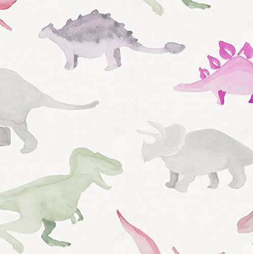 Carousel Designs-Pink Watercolor Dinosaurs Pillow Case