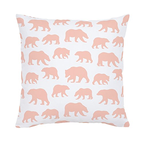 Carousel Designs-Peach Bears Throw Pillow 18-Inch Square Size