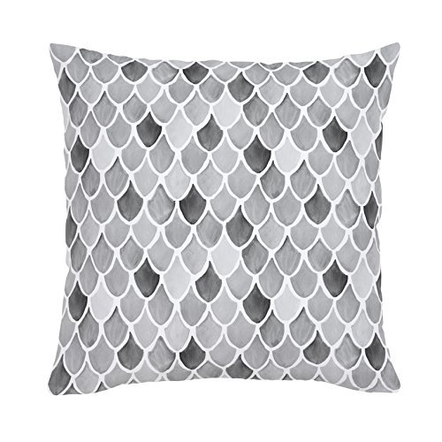 Carousel Designs-Gray Watercolor Scales Throw Pillow 20-Inch Square