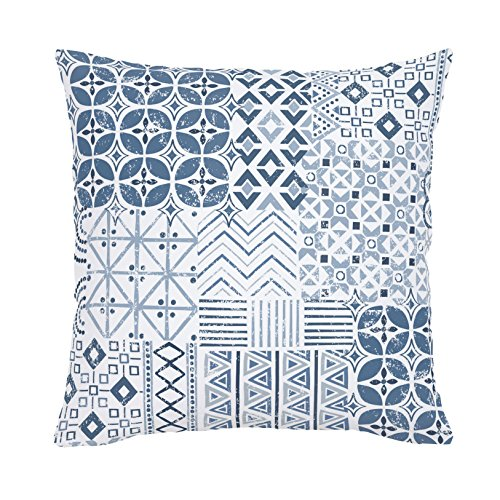 Carousel Designs-Denim Patchwork Throw Pillow 20-Inch Square