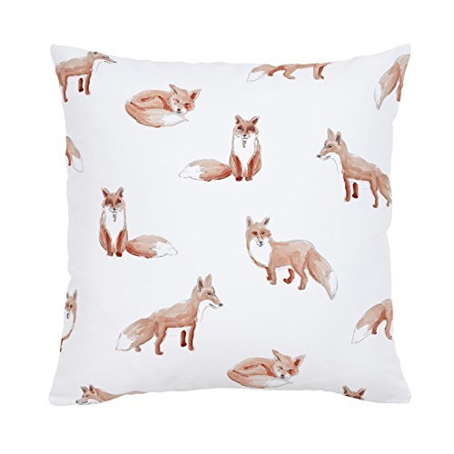 Carousel Designs-Gray Watercolor Fox Throw Pillow 18-Inch Square