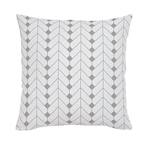 Carousel Designs-Silver Gray Diamond Herringbone Throw Pillow