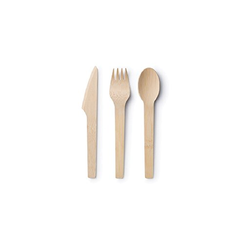Bambu-24 Piece Disposable Bamboo Flatware Set