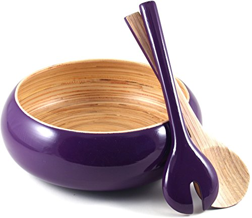 Core Bamboo-Eggplant Shallow Bowl with Servers