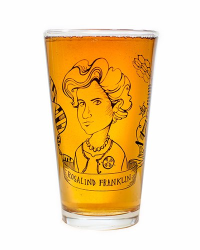 Cognitive Surplus-Heroes of Science: Rosalind Franklin Pint Glass