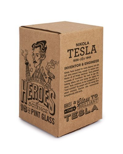 Cognitive Surplus-Heroes of Science: Nikola Tesla Pint Glass