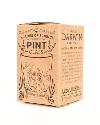 Cognitive Surplus-Heroes of Science: Charles Darwin Pint Glass