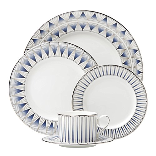 Lenox-5 Piece Geodesia Place Setting Dinnerware Set - Blue