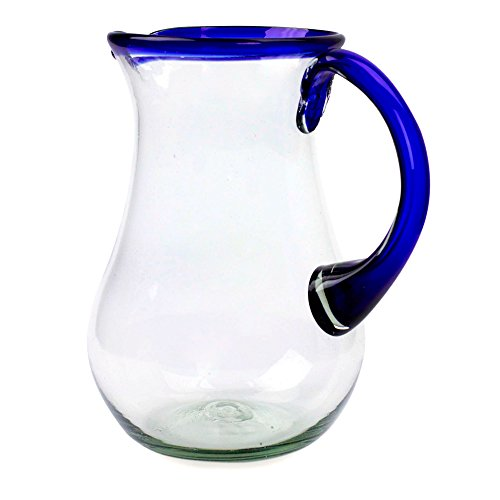 NOVICA-Artisan Crafted Blue Accent Clear Glass Recycled Hand Blown Pitcher From Mexico
