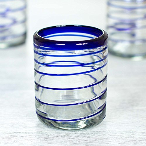NOVICA-Blue Clear Glass Hand Blown Cocktail Glasses -Set of 6