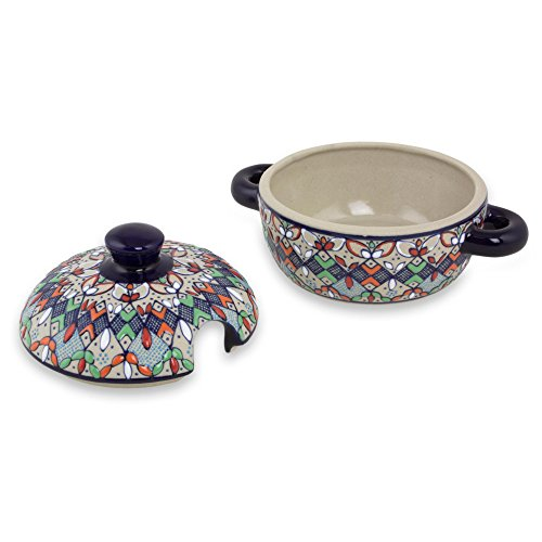 NOVICA-Multicolor Floral Ceramic Covered Sauce Dish