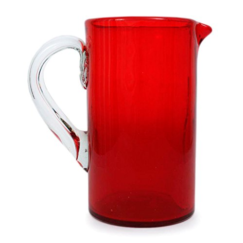 NOVICA-Handblown Red Recycled Glass Pitcher - Ruby Red