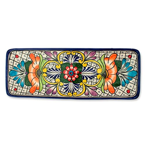 NOVICA-Multicolor Floral Ceramic Serving Plate