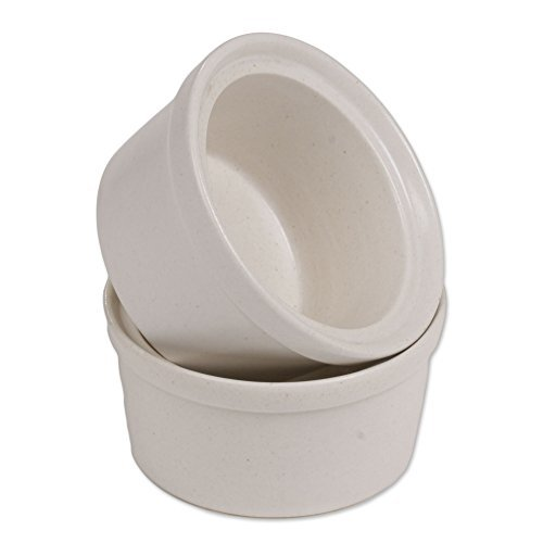 NOVICA-White Ceramic Ramekins - Speckled White