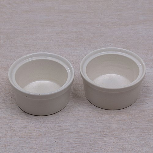 NOVICA-White Ceramic Ramekins - Speckled White
