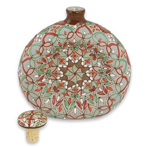 NOVICA-NOVICA Multicolor Geometric Ceramic Decanter, 13 oz. 'Aztec Autumn'