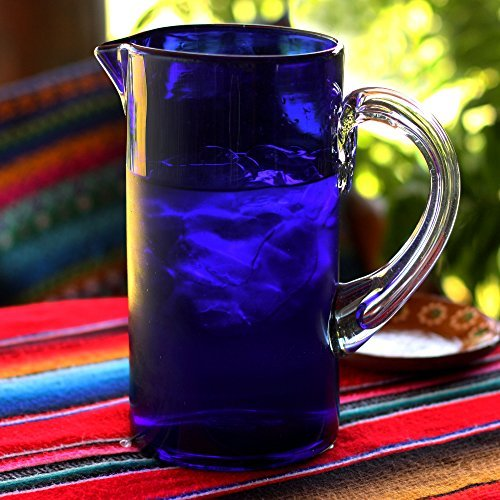 NOVICA-Hand Blown Blue Recycled Glass Decorative Pitcher -Deep Blue