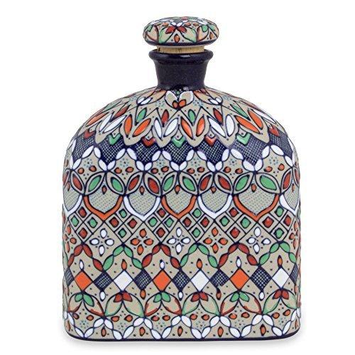 NOVICA-NOVICA Multicolor Floral Ceramic Decanter, 35 oz, 'Guanajuato Festivals'