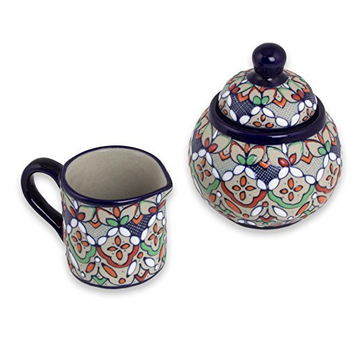 NOVICA-Multicolor Floral Ceramic Sugar Bowl and Creamer - Guanajuato Festivals