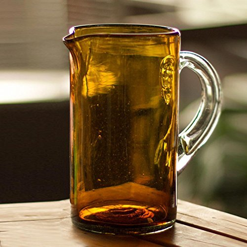 NOVICA-Hand Blown Brown Decorative Recycled Glass Pitche - Amber