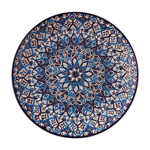 NOVICA-NOVICA Blue Floral Ceramic Serving Plate, 'Blue Patzcuaro'