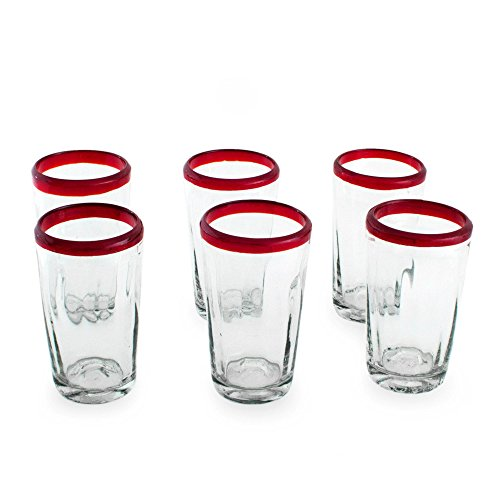 NOVICA-Set of 6 Clear Red Hand Blown Glass Eco-Friendly Tumblers - Ruby Groove