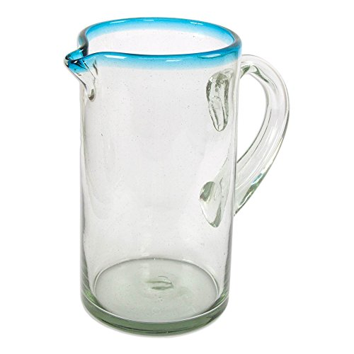 NOVICA-NOVICA Hand Blown Glass Pitcher, Blue, 57 oz, 'Aqua'