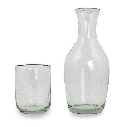 NOVICA-Hand Blown Clear Glass Carafe and Glass Set - Clarity