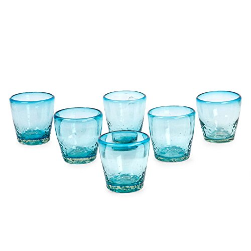 NOVICA- Delicious Blown Juice Glasses - Blue