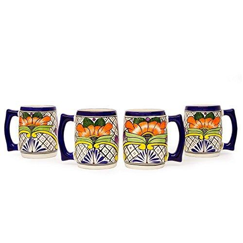 NOVICA-Set of 4 Multicolor Ceramic Beer Mugs - Guanajuato Flora