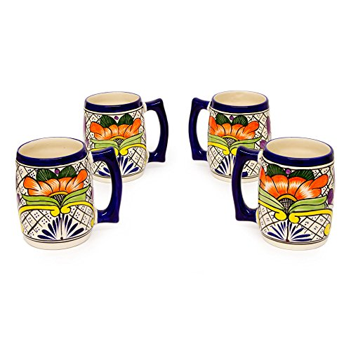 NOVICA-Set of 4 Multicolor Ceramic Beer Mugs - Guanajuato Flora