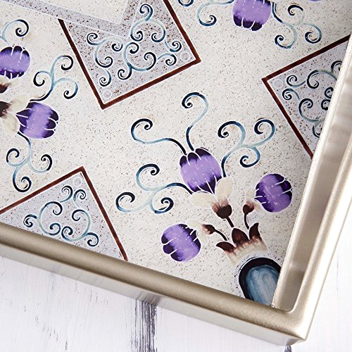 NOVICA-Glass Floral Tray