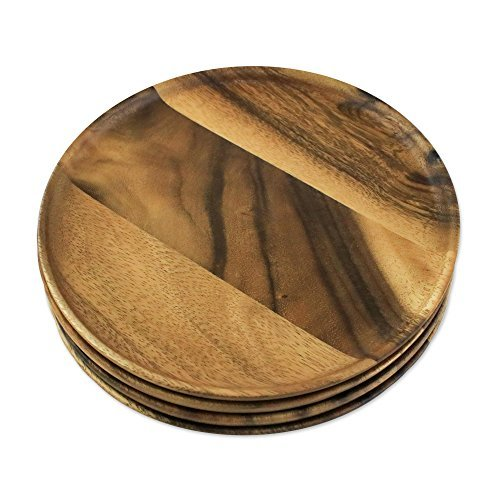 NOVICA-NOVICA Brown Wood Eco-Friendly Plates, 'Natural Dark Discs' (set of 4)