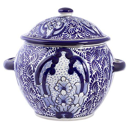 NOVICA- Blue Ceramic Floral Tureen - Puebla Kaleidoscope